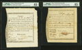 Colonial Notes:Massachusetts , Massachusetts Treasury Certificates Three Examples PMG Graded.. ...(Total: 3 notes)