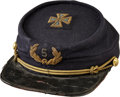 Military & Patriotic:Civil War, Fine GAR Kepi with a Gold Bullion and Blue Wool 5th Corps Badge Embroidered on the Top...