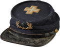 Military & Patriotic:Civil War, Nice GAR Kepi, circa 1880, with a Gold Bullion and Blue Wool 6th Corps Badge Embroidered on the Top...