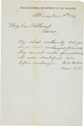 Autographs:Military Figures, General Henry Halleck Letter Signed to General U. S. Grant....
