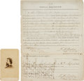 Photography:CDVs, Union General John Irwin Gregg Document Signed and Carte de Visite.... (Total: 2 )