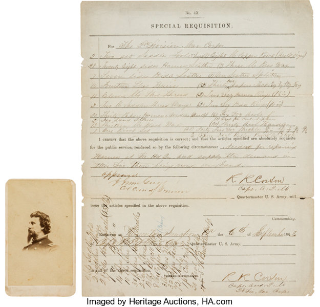 PhotographyCDVs Union General John Irwin Gregg Document Signed And Carte DeVisite