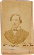Photography:CDVs, Confederate Colonel William Preston Johnston Carte de Visite Signed...