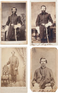 Military & Patriotic:Civil War, Four Cartes de Visite of Identified Officers and Men From Illinois Regiments....