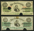Confederate Notes:1863 Issues, T57 $50 1863 Two Examples.. T57 $50 1863. ... (Total: 2 notes)