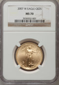 Modern Bullion Coins, 2007-W $25 Half-Ounce Gold Eagle MS70 NGC. NGC Census: (2404). PCGS Population (548). Numismedia Wsl. Price for problem fr...