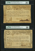 Colonial Notes:Massachusetts , Massachusetts State Lottery £15. 1779, 1780. Anderson MA-15 (2),MA-17. ... (Total: 3 notes)
