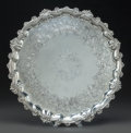 Other:European, A VICTORIAN SILVER-PLATED FOOTED TRAY, circa 1900. 2 inches high x20-1/2 inches diameter (5.1 x 52.1 cm). From a Private ...
