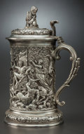 Other:European, AN ELKINGTON & CO. SILVER-PLATED COVERED TANKARD, Birmingham,England, circa 1885. 12-1/2 x 8 x 6 inches (31.8 x 20.3 x 15.2...
