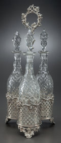Other:European, A JOHN SHERWOOD & SONS SILVER-PLATED CRUET SET WITH CUT-GLASSBOTTLES, Birmingham, England, circa 1858-1896. Marks:JS&S...