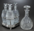Other, A VICTORIAN SILVER-PLATED AND CUT-GLASS THREE-BOTTLE CRUET SET WITHDECANTER, circa 1840. 11 x 8 x 7-1/2 inches (27.9 x 20.3... (Total:5 Items)