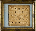 """Military & Patriotic:Civil War, Civil War Hardtack Brought Home by Almon W. Gould """"Carried by him in the Battle of the Wilderness""""...."""