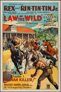 """Law of the Wild (Mascot, 1934). One Sheet (27"""" X 41"""") Chapter 1 --""""The Man Killer!"""" Serial"""