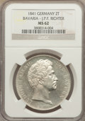 German States:Bavaria, German States: Bavaria. Ludwig I 2 Taler 1841 Richter MS62 NGC,...
