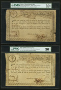 Colonial Notes:Massachusetts , State of Massachusetts Bay £15 (2), £90 Treasury CertificatesFebruary 5, 1780 Anderson MA-16 . ... (Total: 3 notes)