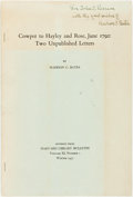Books:Biography & Memoir, Madison C. Bates. INSCRIBED. Cowper to Hayley and Rose, June1792: Two Unpublished Letters. Cambridge: Harvard Unive...