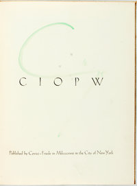 [E.E. Cummings]. SIGNED/LIMITED. Ciopw. New York: Covici-Friede, 1931. Limited edition. Large Q