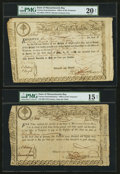 Colonial Notes:Massachusetts , Massachusetts State Lottery. Various Denominations. 1779 AndersonMA-15, MA-17, MA-19. ... (Total: 3 notes)