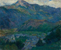 Fine Art - Painting, European:Modern  (1900 1949)  , EUROPEAN SCHOOL (20th Century). Mountain Valley Village,1919. Oil on canvas. 18 x 21-1/2 inches (45.7 x 54.6 cm). Inscr...