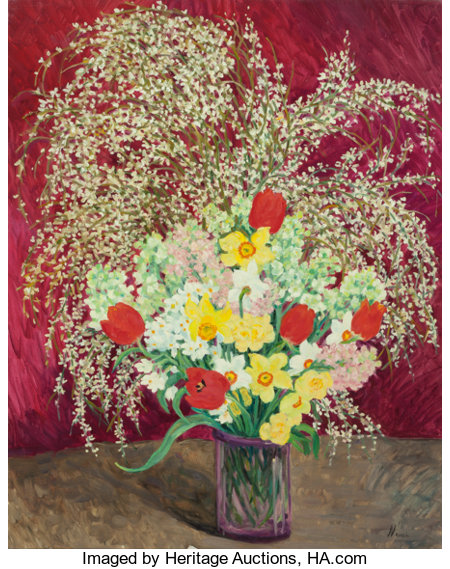 MARIE LUCIE NESSI (French, 1900-1992) Fleurs de Printemps Oil on canvas 36 x 29 inches (91.4 x 73.7 cm) Signed lower...