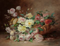 Fine Art - Painting, European:Antique  (Pre 1900), EDMOND VAN COPPENOLLE (Belgian, 1846-1914). Leaning Basket ofRoses. Oil on canvas. 27-3/4 x 36-1/4 inches (70.5 x 92.1 ...