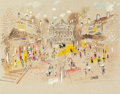 Fine Art - Work on Paper:Drawing, CHARLES COBELLE (French, 1902-1998). Place de l'Opera,Paris. Mixed media on paper. 21-3/4 x 27-3/4 inches (55.2 x70.5 ...