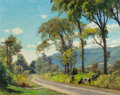 Texas:Early Texas Art - Modernists, VICTOR COLEMAN ANDERSON (American, 1882-1937). Cows Grazing bythe Road. Oil on board. 15-1/4 x 19-3/8 inches (38.7 x 49...