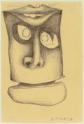 Fine Art - Work on Paper:Drawing, JONATHAN BOROFSKY (American, b. 1942). Head at 2770424.Pencil on yellow paper. 5-7/8 x 4 inches (14.9 x 10.2 cm). PRO...
