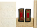 Military & Patriotic:Civil War, Artillery Major's Shoulder Straps and Last Letter Written by Major Frank A. Rolfe 1st Mass Heavy Artillery Three Days Before H...