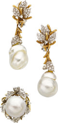 Estate Jewelry:Suites, South Sea Cultured Pearl, Diamond, Gold Jewelry. ...