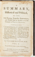 Books:Americana & American History, Douglass, William. A Summary, Historical and Political, of theFirst Planting, Progressive Improvements, and Present Sta...(Total: 2 Items)