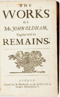 Books:Literature Pre-1900, Oldham, John. The Works...Together with his Remains:[Containing:] Satyrs Upon The Jesuits: Written in the Year...