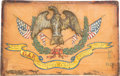 "Military & Patriotic:Civil War, Civil War Eagle Finial ""Found Upon the Field of Battle at Gettysburg"" Mounted On Colorful Folk Art Plaque and Presented to the..."