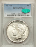 1925-S $1 MS64 PCGS. CAC. PCGS Population: (2173/44). NGC Census: (1609/74). CDN: $475 Whsle. Bid for problem-free NGC/P...