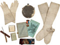 Military & Patriotic:Civil War, Assorted Civil War Accessories; ID'd Gauntlets, Hard Tack, Prayer Book, 28th Illinois Sutler's Token....