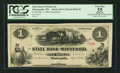 Obsoletes By State:Minnesota, Minneapolis, MN- The State Bank of Minnesota $1 Sep. 1, 1862Remainder G2 Hewitt B360-D1. ...
