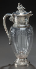 Decorative Arts, French:Other , A CHRISTOFLE CUT-GLASS EWER WITH SILVER-PLATED MOUNTS, France,1900-1937. Marks: Offevrerie Gallia, (C-cat-C), 5363. 13-...