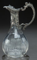 Other, A CUT-GLASS EWER WITH SILVER-PLATED MOUNTS, circa 1900. 10-3/4 x6-1/4 x 5 inches (27.3 x 15.9 x 12.7 cm). From a Private ...