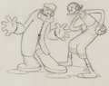 Animation Art:Production Drawing, Dizzy Divers Popeye and Olive Oyl Production DrawingAnimation Art (Fleischer Studios, 1935)....