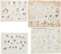 animation art:Model Sheet, Mickey Mouse and Others Studio Model Sheet Group (Walt Disney,1933-36).... (Total: 4 Items)
