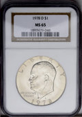 Eisenhower Dollars: , 1978-D $1 MS65 NGC. NGC Census: (1932/128). PCGS Population (568/221). Mintage: 33,012,890. Numismedia Wsl. Price: $24.(#74...