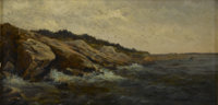 MARSHAL JONES (American 19th Century) Seascape With Rocks Oil on canvas 8 x 16in. (unframed) Unsigned Frost & Ad...