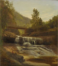 Fine Art - Painting, American:Antique  (Pre 1900), SAMUEL L. GERRY (American 1813-1891). Rustic Water Falls AndBridge With Figures, 1858. Oil on canvas. 16 x 14in. (unfra...