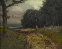 FRANKLIN DE HAVEN (American 1856-1934) Sheep Herder With Sheep Oil on canvas 16 x 22in. (unframed) Signed lower left