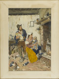 Fine Art - Painting, European:Antique  (Pre 1900), FILOSINI (Italian 19th Century). Interior Scene With Man, WomanAnd Baby. Watercolor on paper. 21 x 14in. (unframed). Si...