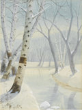 Fine Art - Painting, American:Modern  (1900 1949)  , BONAWITZ. Winter Scene With House (Two watercolors).Watercolor on paper. 19 x 24in. (each, unframed). Both signed:Bo...