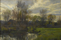 HUGH BOLTON JONES (American 1848-1927) November Oil on canvas 16 x 24in. (unframed) Signed lower right: H Bolton J