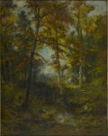 Fine Art - Painting, American:Antique  (Pre 1900), ROSWELL MORSE SHURTLEFF (American 1838-1915). Forest Scene.Oil on canvas laid on board. 25 x 20in. (unframed). Signed l...