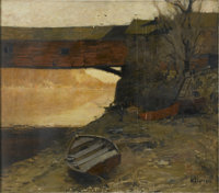 WILLIAM LANGSON LATHROP (American 1859-1938) Old Covered Bridge Oil on canvas 22 x 25in. (unframed) Signed lower rig