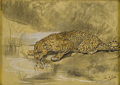 Fine Art - Painting, European:Antique  (Pre 1900), JOHN MACALLAN SWAN (British 1847-1910). Leopard Drinking FormPond. Colored chalk and pencil on paper. 13 x 18in. (unfra...